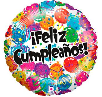 Globo metálico Feliz Cumpleaños globos