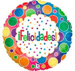 Globo metálico Felicidades bolas