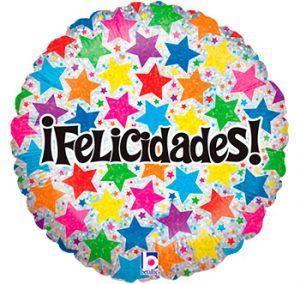 Globo metálico Felicidades Estrellas