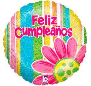 Globo metálico Feliz Cumpleaños flor y franjas