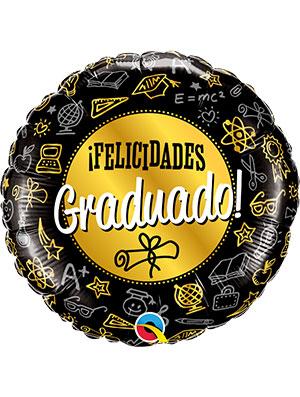 Globo foil Graduado Black & Gold Diploma