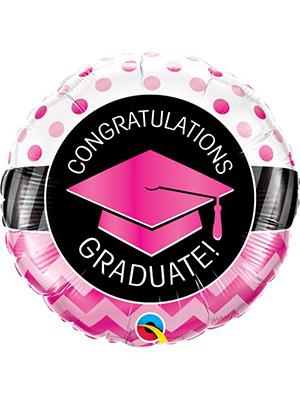 Globo foil Graduate Pink Chevron
