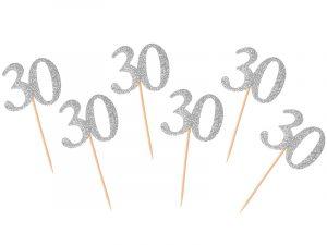 Palillo decorativo 30 plata, originales y divertidos palillos con el numero brillante metálico. Ideal para completar tu fiesta de aniversario y personalizar todos los detalles de la mesa