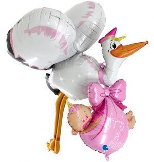 Super globo cigueña foil bebé niña