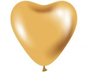 Globos de látex Corazón Oro platinum