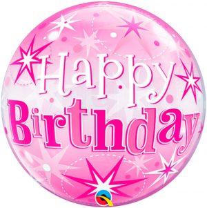 Globo burbuja Hapy Birthday Pink