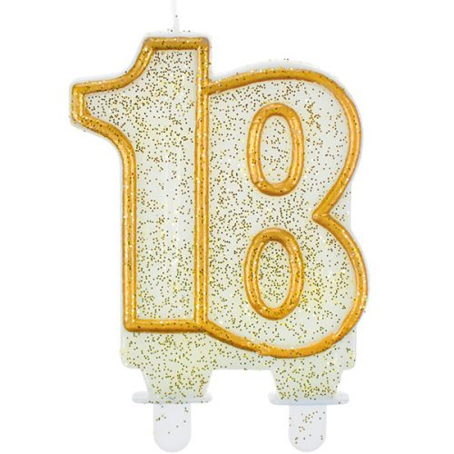 Velas cumpleaños 18 borde dorado purpurina, original y elegante vela para cumpleaños efecto brillante. Recubierta de purpurina dorada, que no dejará a nadie indiferente.