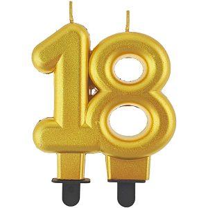 Velas cumpleaños 18 color dorado
