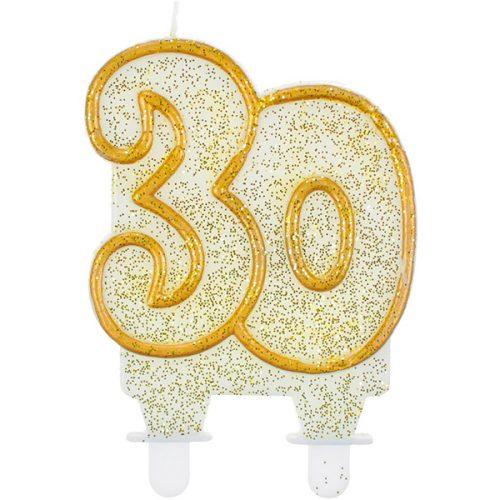 Velas cumpleaños 30 borde dorado purpurina