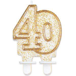 Velas cumpleaños 40 borde dorado purpurina