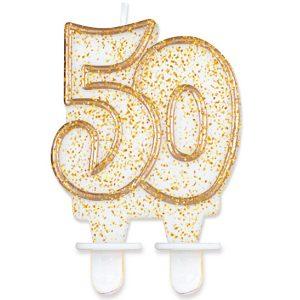 Velas cumpleaños 50 borde dorado purpurina