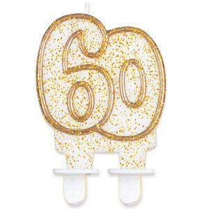 Velas cumpleaños 60 borde dorado purpurina