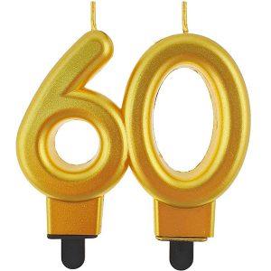 Velas cumpleaños 60 color dorado