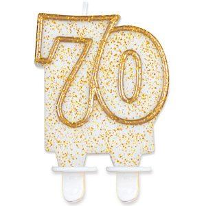 Velas cumpleaños 70 borde dorado purpurina