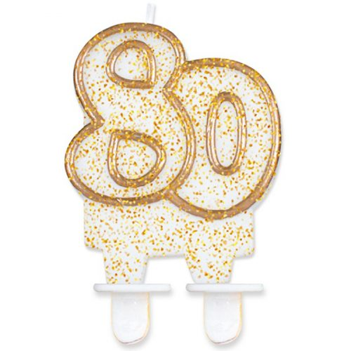 Velas cumpleaños 80 borde dorado purpurina