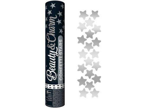 Cañón de Confeti Estrellas Plata 30 cm