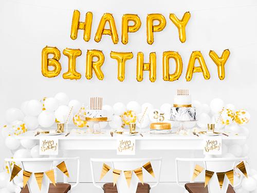 Pack letras foil Happy Birthday dorado