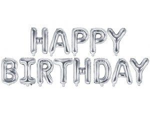 Pack letras foil Happy Birthday plata