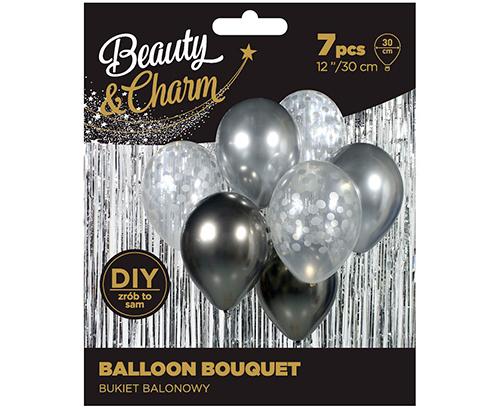Ramo de globos plata grafito, haga un hermoso bouquet de globos y cree decoraciones para una fiesta de Nochevieja, despedida de soltera, boda o como regalo!