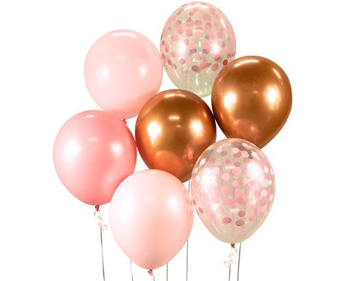 Ramo de globos rosa cobre