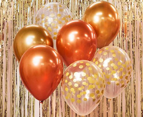 Ramo de globos oro cobre