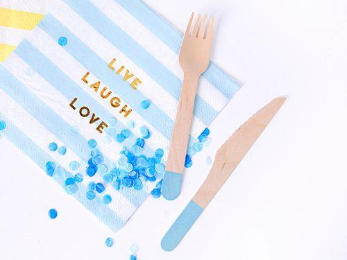 Cubiertos de Madera para Fiestas azul claro 16 cm