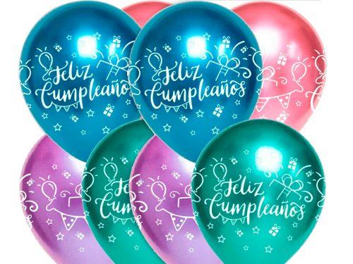 Globo látex Feliz Cumpleaños surtido Brilliant 4 - 25 uds.