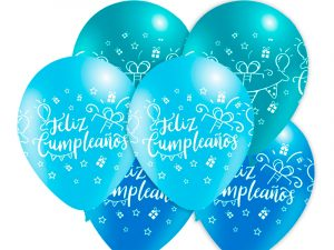 Globo látex Feliz Cumpleaños surtido Azul - 25 uds.