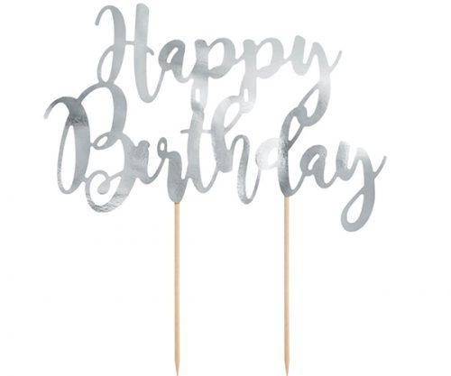 Decoración para tarta Happy Birthday, plata