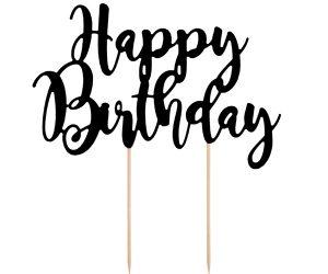 Decoración para tarta Happy Birthday negro
